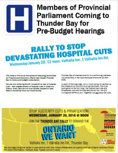 Thunder Bay Pre-budget hearing rally