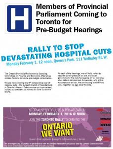 Toronto Pre-budget hearing rally